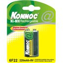 Blister 1 Batteria Ricaricabile 9V 6F22 220mAh / Konnoc / IBT K220